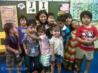 Preschool A gives Teacher Bea and Teacher Gia a big hug