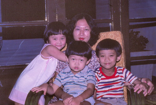 Us kids & Mum - 1984 at Shan's 7th b-day
