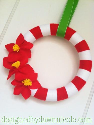 DIY Felt Poinsettia Flowers {on Striped Yarn Wreath}