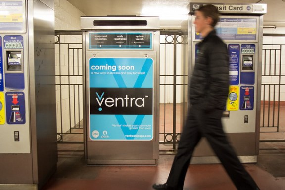 ventra cta pace fare machine at a train station