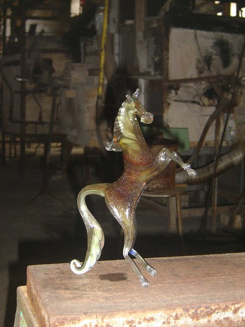 Horse made from Murano glass in Murano, Italy