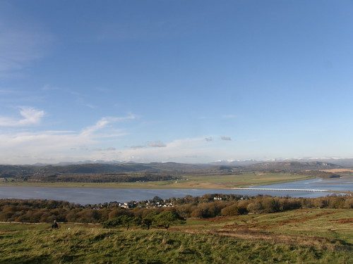 Snow-capped lakeland hills from Arnside Knott