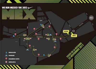 Ruta carrera Nike We Run Mexico 2012 - México DF