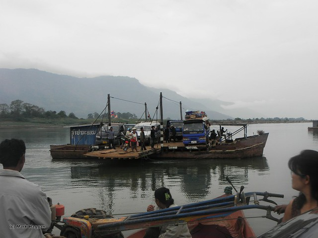 A ferry crossing the Mekong in Laos