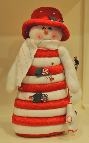 candy cane stuffed snowman