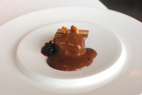 Chocolate with berry sauce and hot chocolate