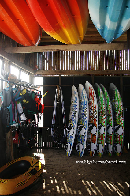 Gears, boards, and equipment in Kingfisher Resort's Kite and Wind Surfing Center