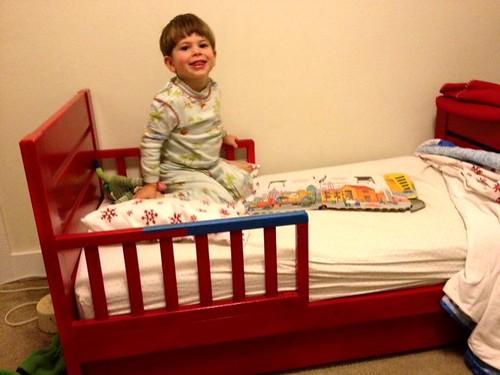 Satchel in his toddler bed