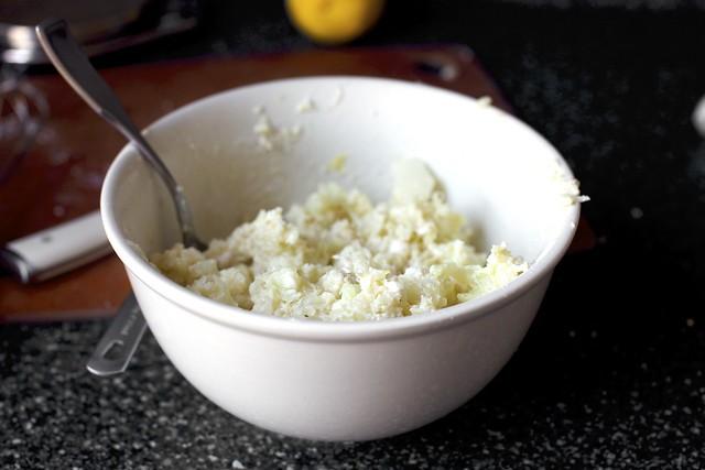 mashed cauliflower-feta batter