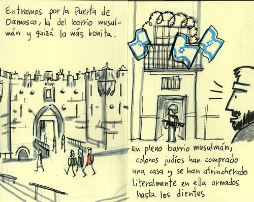 Damascus's Gate / Jewish settlers. Cuaderno de viaje ilustrado. Travel Sketchbook Palestine #7