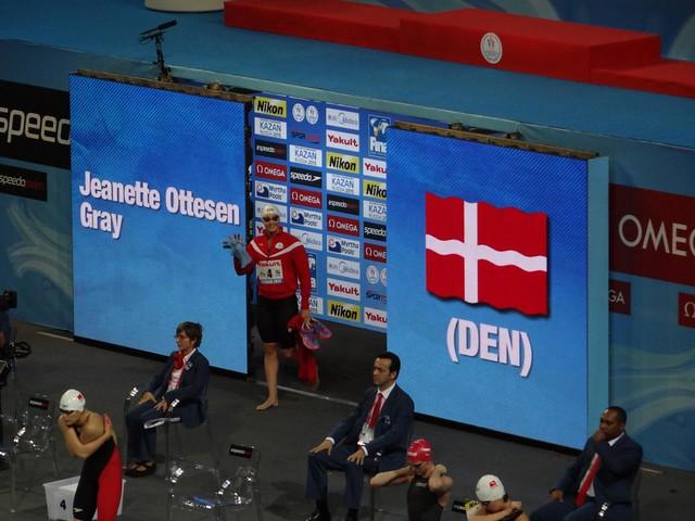Jeanette Ottesen Gray enters the FINA 2012 arena