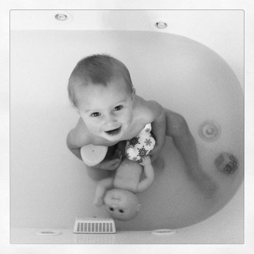 Baby hoarder in the bathtub.