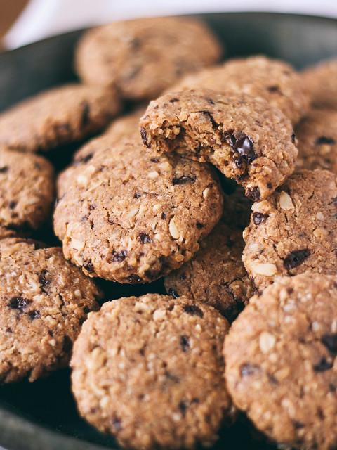 Dark chocolate coconut oatmeal cookies