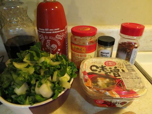 Miso chili chicken bok choy stir fry