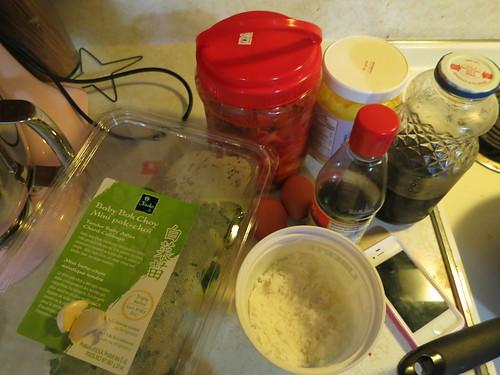 Baby bok choy, kimchi and egg fried rice