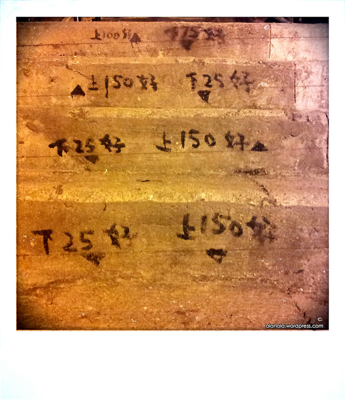 Construction markings on stairs