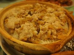 Minced pork and mui choi claypot rice