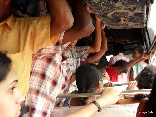 Inside a Goa local bus, December 2009