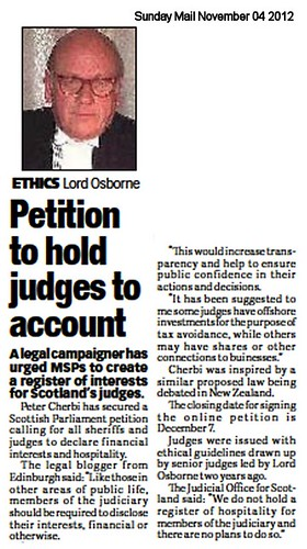 Petition to hold judges to account Sunday Mail November 04 2012