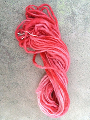 My lovely pink handspun yarn
