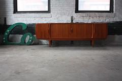 ***Sneak Peak*** Insane Johannes Andersen Teak Tambour Door Danish Modern Credenza for Uldum Mobelfabrik (Denmark, 1950's)