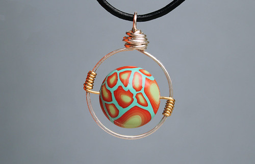 Fire and water lentil pendant wire wrapped 5