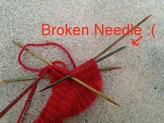 Sad sock with a broken needle