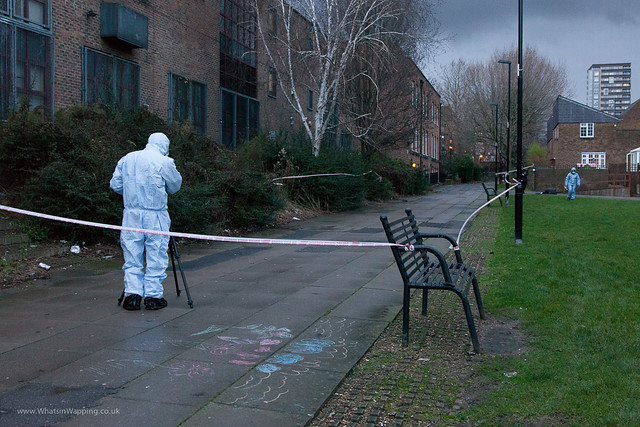 Forensics photograph the crime scene at Wapping Woods.crime scene investigations  taking place at the scene of the cowardly crime