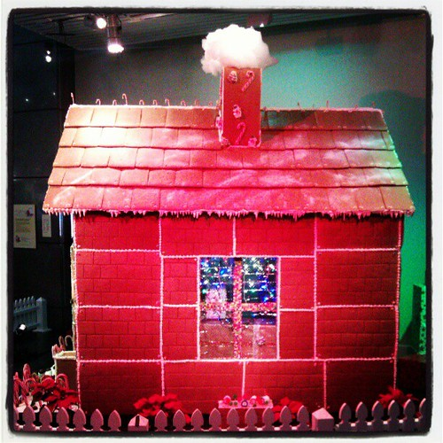 The side view of the giant gingerbread house.