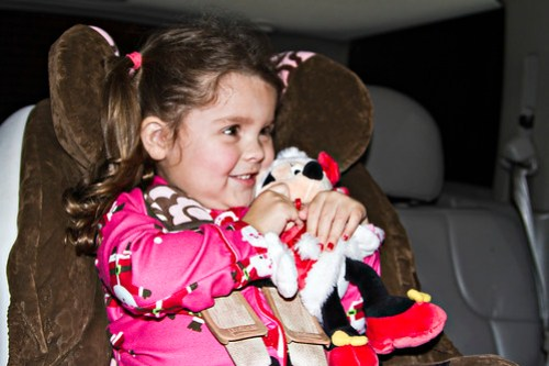 Annie and Minnie Claus, ready to look at lights