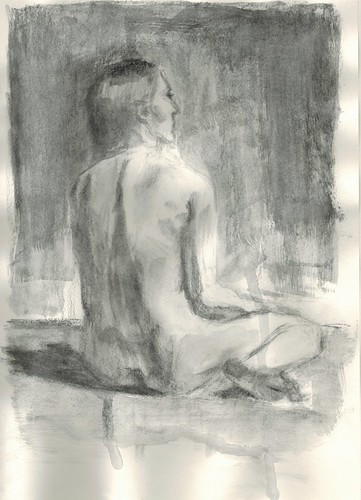 seated nude by husdant