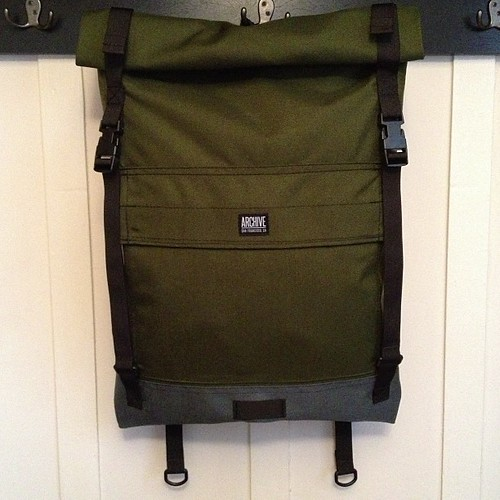 Olive rolltop backpack by Archive Victor