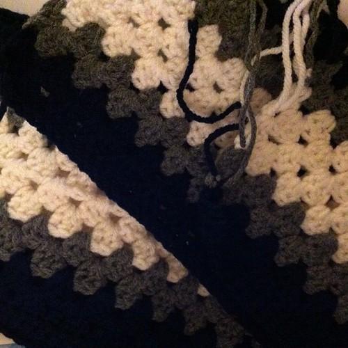 To fringe or not to #fringe #crochet #grannystripe #scarf