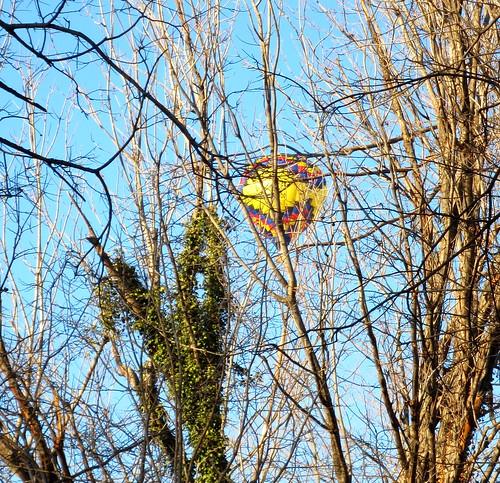 hot air balloon over the house