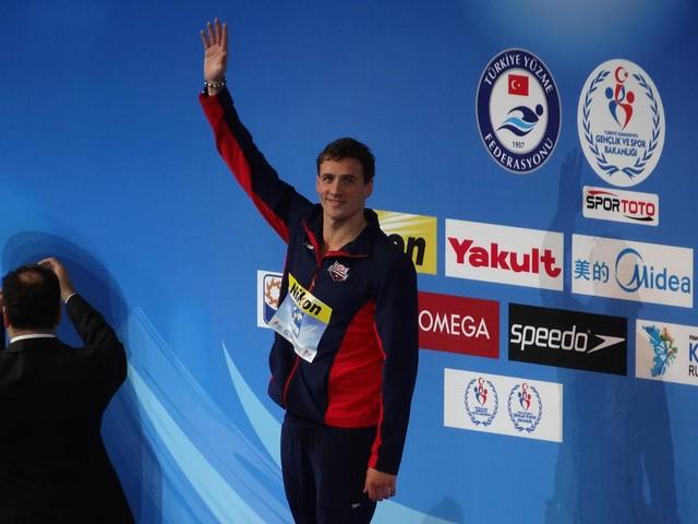 Ryan Lochte on the Istanbul 2012 podium