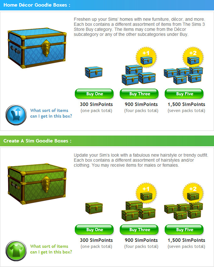 The Sims 3 Store Goodie Boxes