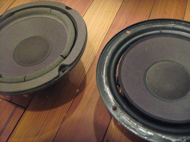 Speakers - before and during foam removal