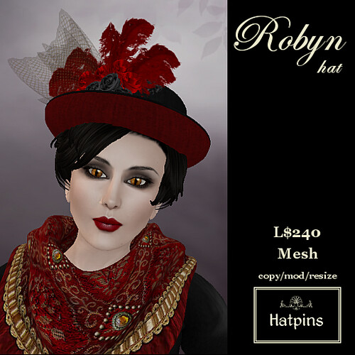 Hatpins - Robyn Hat - Red