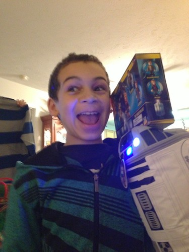 Aidan Likes His Gifts from Uncle Andy