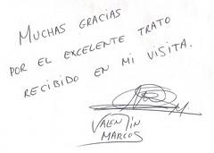 Dedicatoria de Valentín Marcos