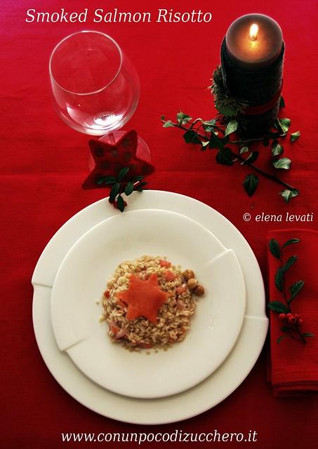Smoked salmon and hazelnuts risotto