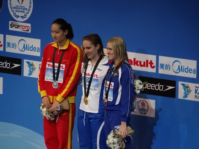 Istanbul 2012 women's 100 fly medal podium