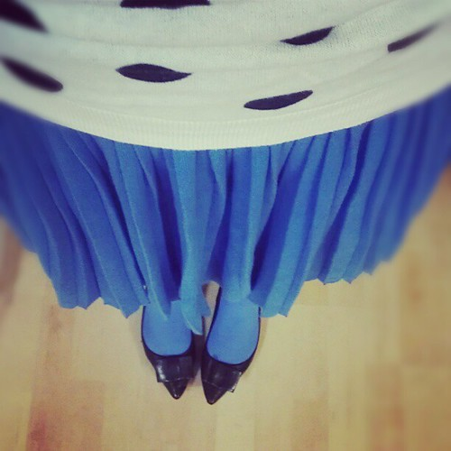 Polka dots, pleats and periwinkle blue today. I feel so much happier when I wear color. #ootd #colorful