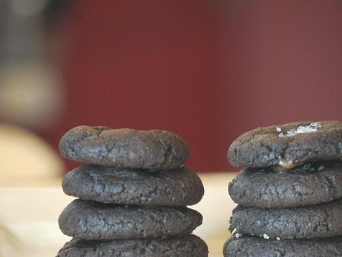 Chocolate Caramel Cookies with Sea Salt