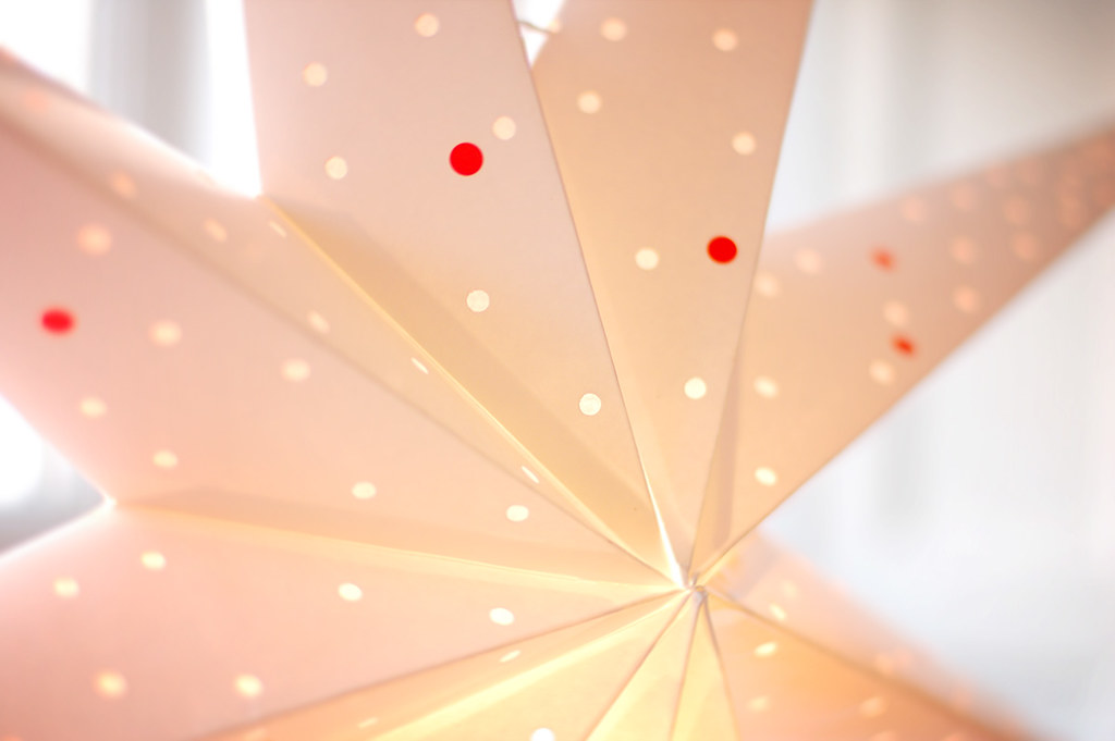 red dotted paper star lantern