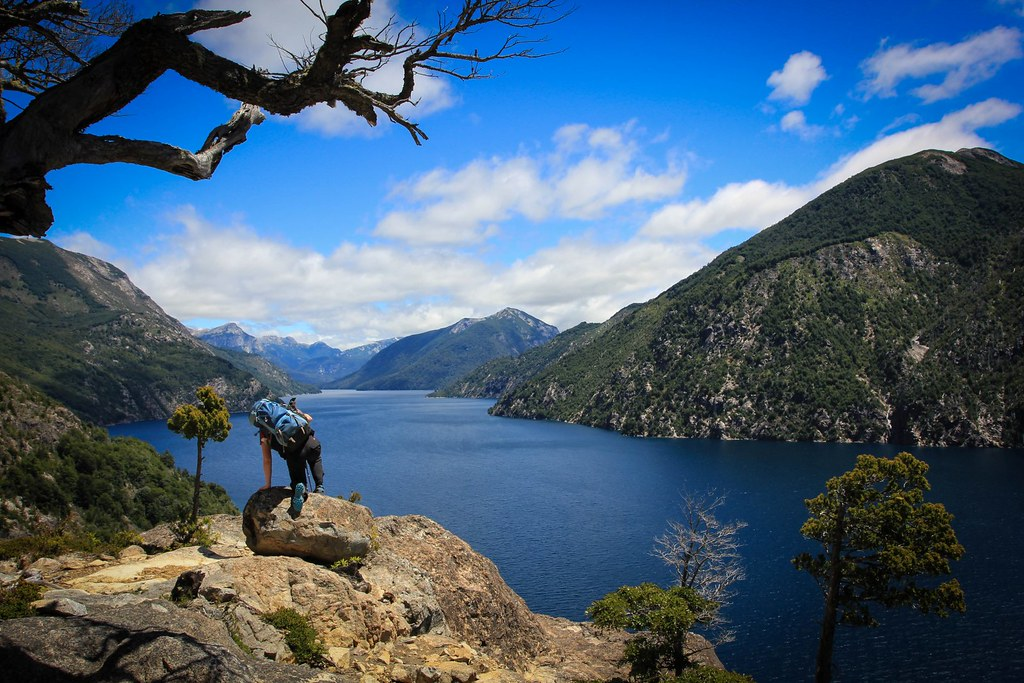 Climbing up towards Cerro Lopez with terrific view down Brazo Tristeza, a western inlet of the fjord-like Nahuel Huapi Lake