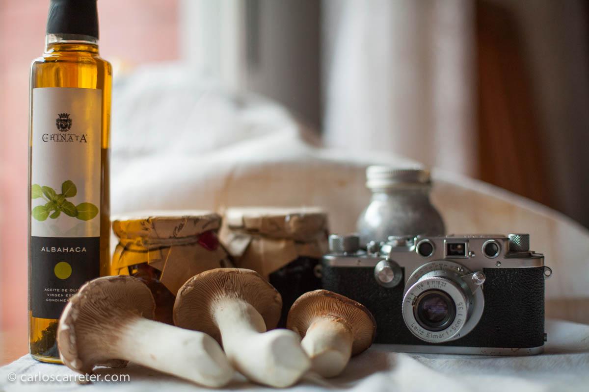 Bodegón con setas y Leica