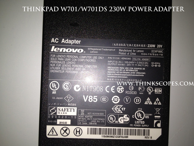 ThinkPad 230 Watts W701 and W701ds Power Adpater specification