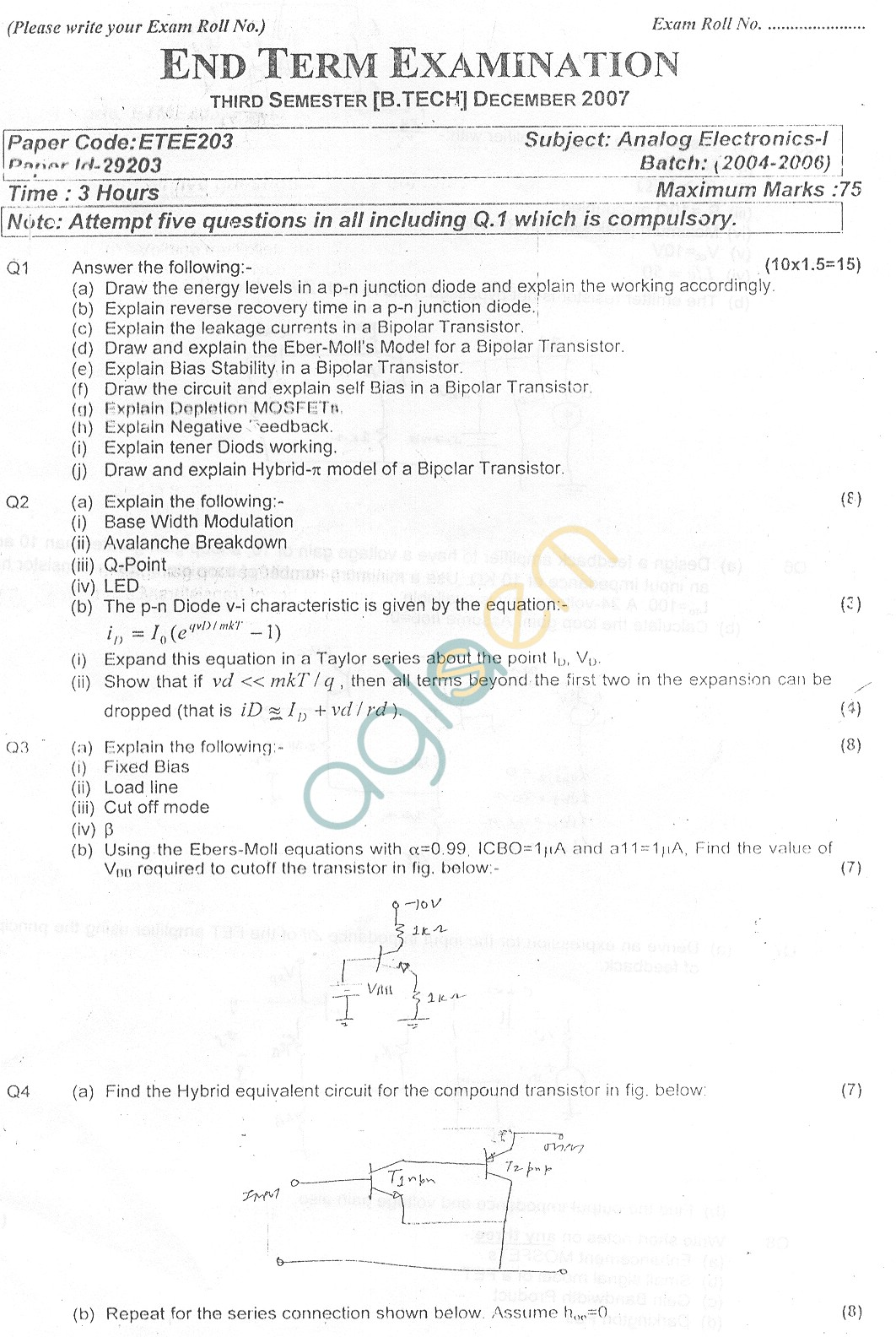 GGSIPU Question Papers Third Semester – End Term 2007 – ETEE-203