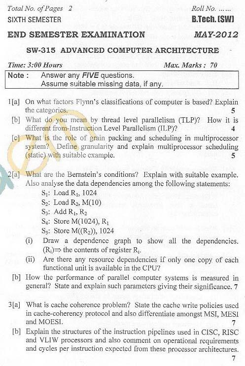 DTU: Question Papers 2012 - 6 Semester - End Sem - SW-315